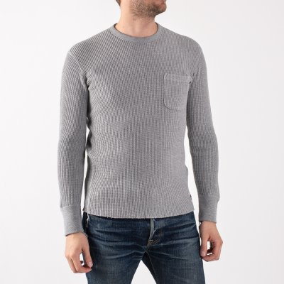 Long Sleeved Thermal Crew Neck with Chest Pocket - Grey