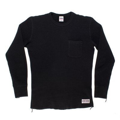 Long Sleeved Thermal Crew Neck with Chest Pocket - Black