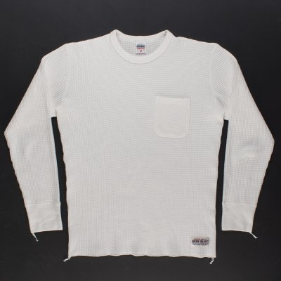 Long Sleeved Thermal Crew Neck with Chest Pocket - White