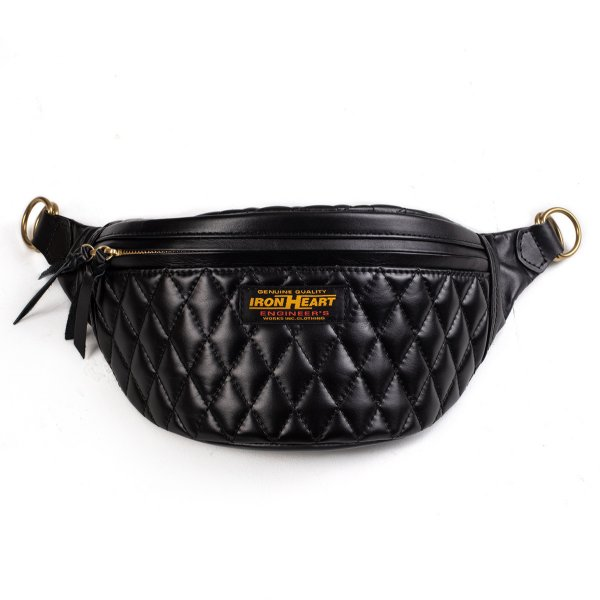 Diamond Stitched Leather Waist Bag Black/Black