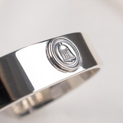 12mm Silver Bell Pattern Plain Bangle