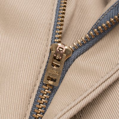 Khaki Mercerised Selvedge Cotton Slim Tapered Chinos