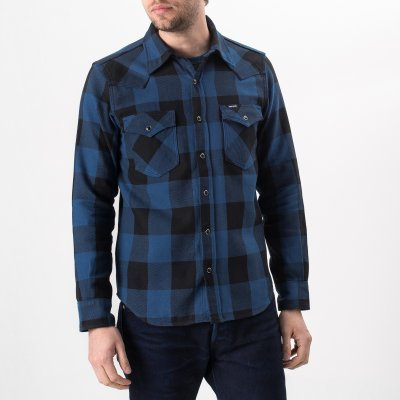 10oz Indigo Check Flannel Western Shirt