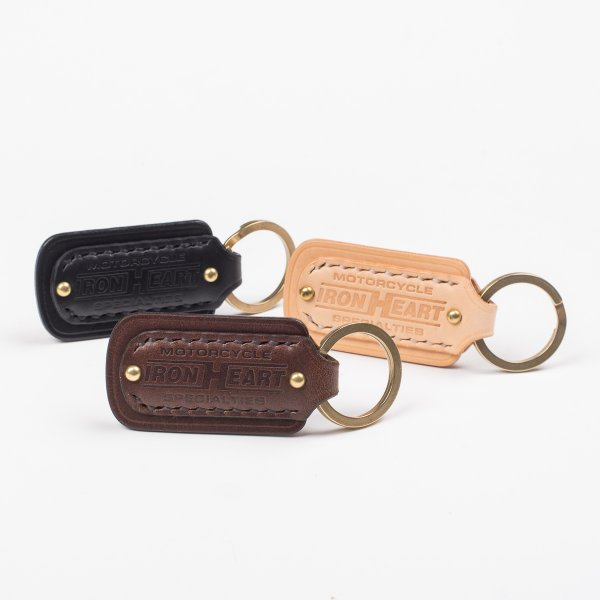 Black, Brown or Natural Buttero Leather Key Ring with Embossed Iron Heart Logo