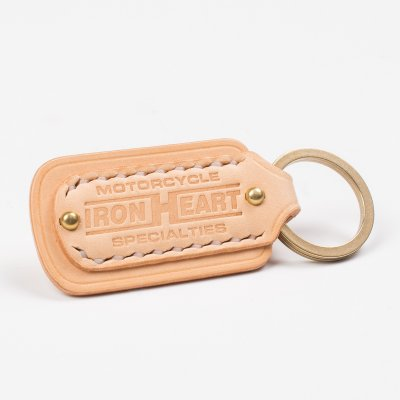 Natural Buttero Leather Key Ring with Embossed Iron Heart Logo