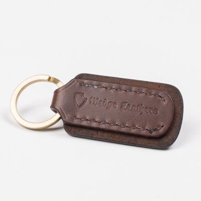 Brown Buttero Leather Key Ring with Embossed Iron Heart Logo