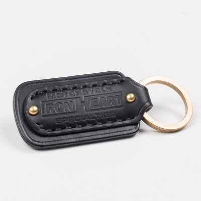 Black Buttero Leather Key Ring with Embossed Iron Heart Logo