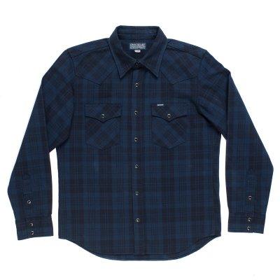 9oz Unbrushed Blue/Black Cotton Flannel Western Shirt