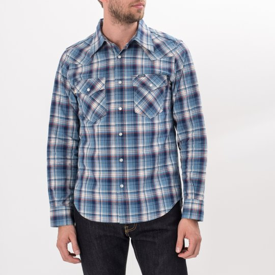 5.5oz Indigo Madras Check Western Shirt