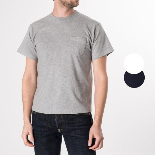 Grey 7.5oz Plain Crew Neck Loopwheeled Pocket T-Shirts