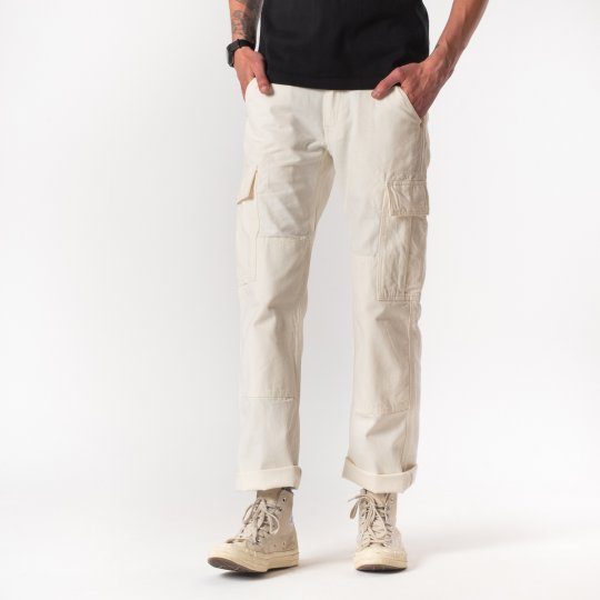 White 10.5oz Cotton Herringbone Cargo Pants