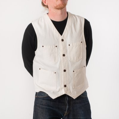 White Herringbone Work Vest