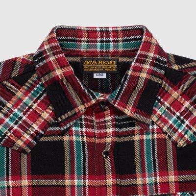 Black Crazy Check Ultra Heavy Flannel Western Shirt