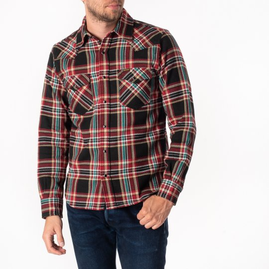 Black Crazy Check Ultra Heavy Flannel Western Shirt
