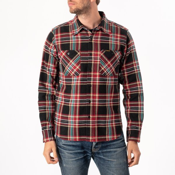 Black Crazy Check Ultra Heavy Flannel Work Shirt