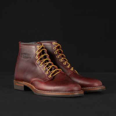 "Iron Heart Int'l x Wesco® - 7"" Burgundy Smooth-Out Boot  - The ""Foot Patrol"""