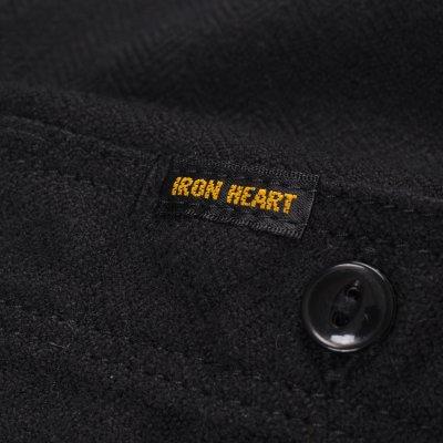 Black Ultra Heavy Flannel Plain Herringbone Work Shirt