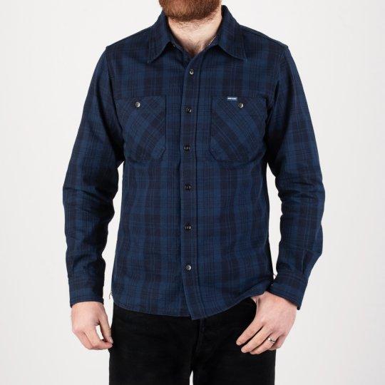 9oz Unbrushed Blue/Black Cotton Flannel Work Shirt