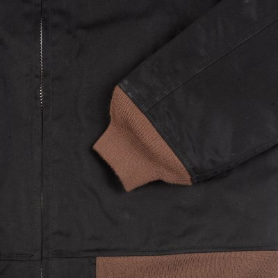 Blanket Lined Chino Cloth Printed Black Tanker Jacket