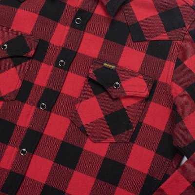 Ultra Heavy Flannel Buffalo Check Western Shirt - Red/Black