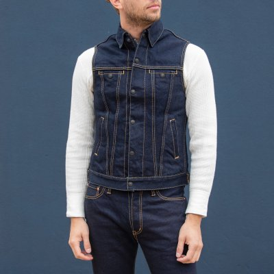 Ignition Works 19oz Stretch Denim Trucker Vest - Indigo