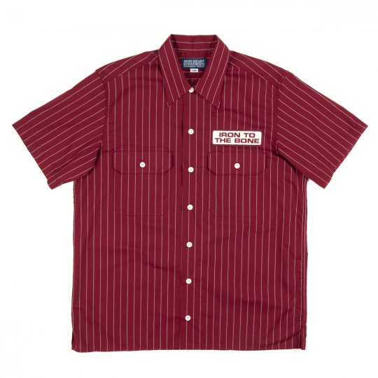 Size L Short-Sleeved Pencil Stripe Poly/Cotton Work Shirt