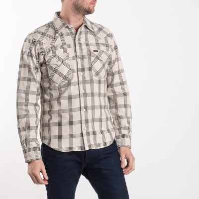 Ultra Heavy Flannel Windowpane Check Western Shirt - Snow Grey