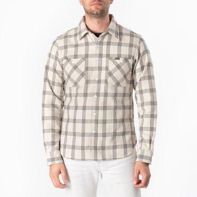 Ultra Heavy Flannel Windowpane Check Work Shirt - Snow Grey