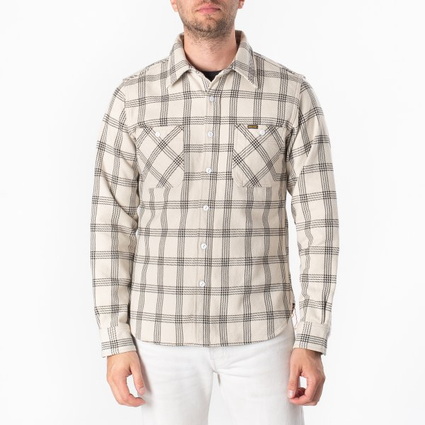 Ultra Heavy Flannel Windowpane Check Work Shirt - Snow Grey