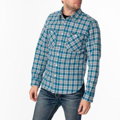 Ultra Heavy Flannel Classic Tartan Check Work Shirt - Blue