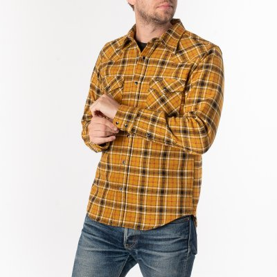 Ultra Heavy Flannel Classic Check Western Shirt - Mustard