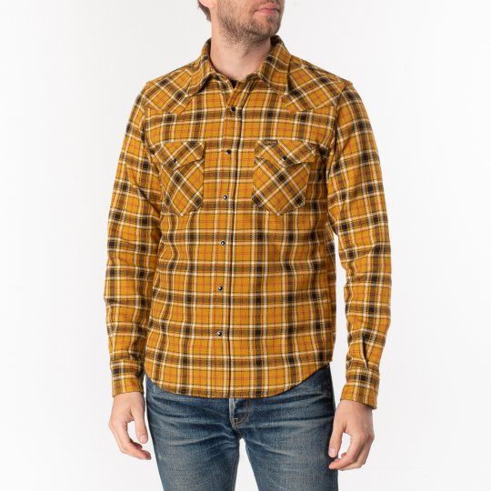 Ultra Heavy Flannel Classic Check Western Shirt - Mustard