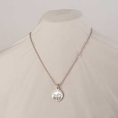 Iron Heart x GOOD ART HLYWD Silver Nickel Pendant On Model 3 Necklace