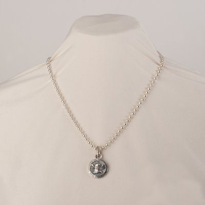 Iron Heart x GOOD ART HLYWD Silver Nickel Pendant On Model 10 Necklace