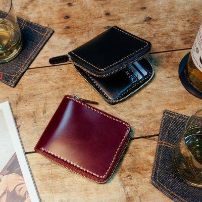 Zip-Secured Shell Cordovan Wallet - Black or Oxblood