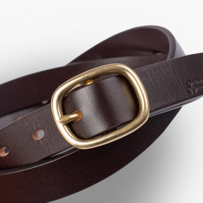 OGL Obbies Dress Narrow One-Size Leather Belt - Full-Dyed Brown