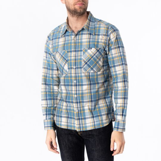 5.5oz Madras Check Work Shirt - Indigo/Yellow