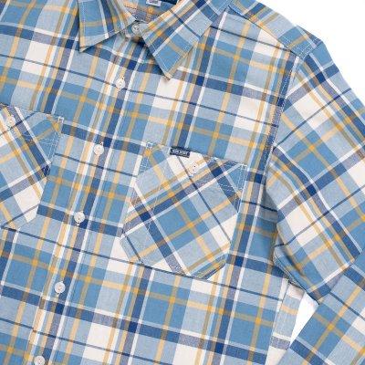5.5oz Madras Check Work Shirt - Indigo/Yellow