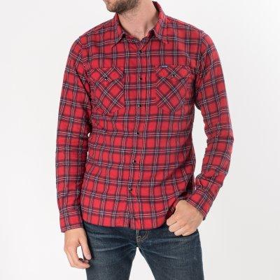 "Red 8oz Flannel Check Single Yoke Western ""Kanreki"" Shirt"