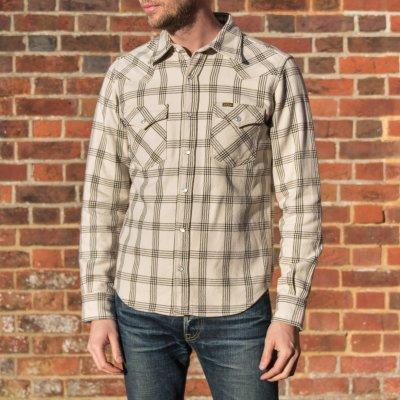 Ultra Heavy Flannel Windowpane Check Western Shirt - Snow Grey
