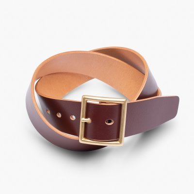 """OGL Vintage 1.75"""" Leather Belt - Hand-Dyed Brown"""
