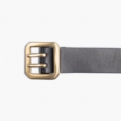 OGL Double Prong Garrison Buckle Leather Belt - Black
