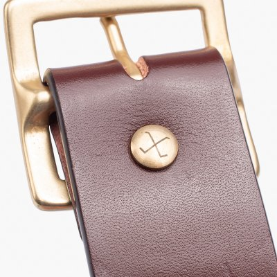 OGL Vintage Buckle Leather Belt - Tan