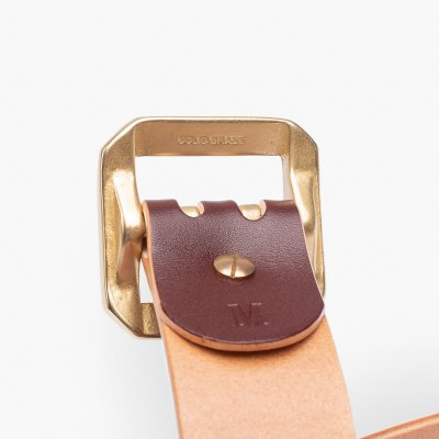 OGL Double Prong Garrison Buckle  Leather Belt - Hand-Dyed Brown