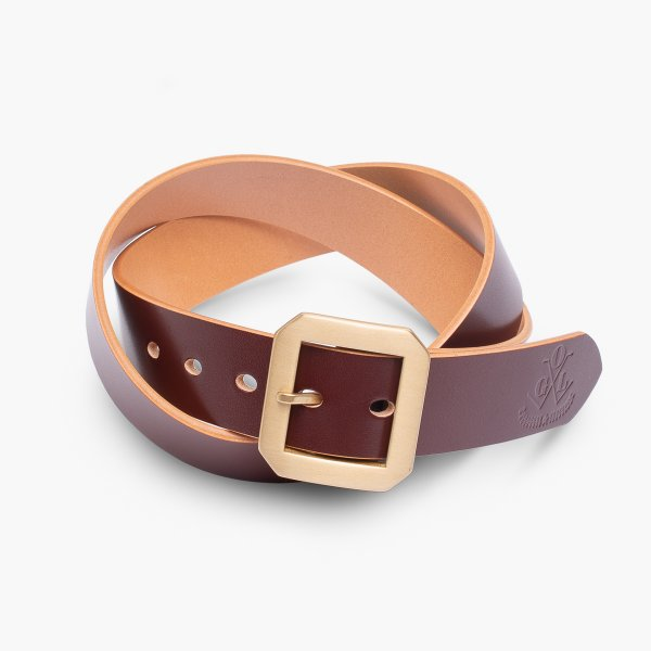 OGL Single Prong Garrison Buckle Leather Belt - Hand-Dyed Brown