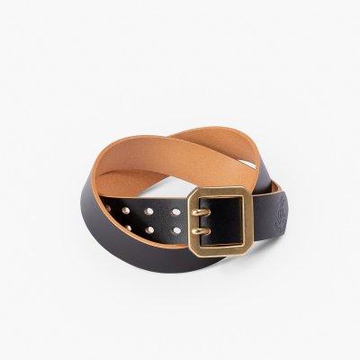 OGL Double Prong Garrison Buckle Leather Belt - Hand-Dyed Black