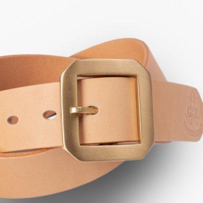OGL Single Prong Garrison Buckle Leather Belt - Natural