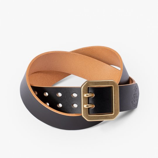 OGL Double Prong Garrison Buckle Leather Belt - Hand-Dyed Black