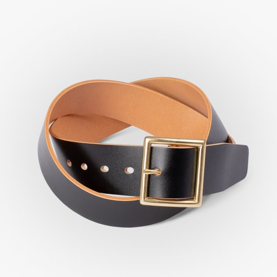 OGL Vintage Buckle Hand Dyed Leather Belt - Black