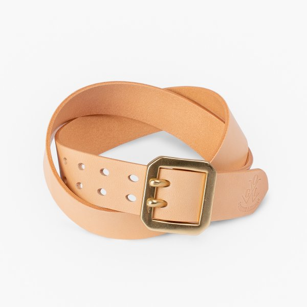 OGL Double Prong Garrison Buckle Leather Belt - Natural